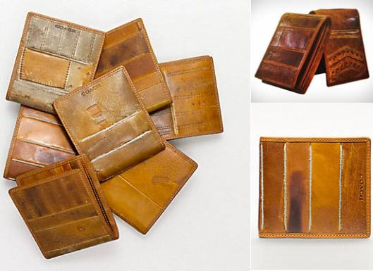 Coach men's wallets made from vintage baseball gloves