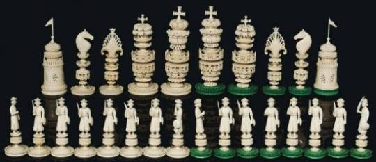 19th century ivory chess set