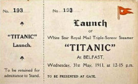 Titanic boarding ticket