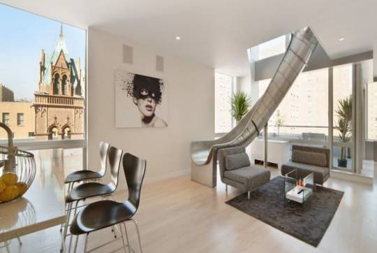 Penthouse apartment connected with slide