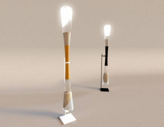 Hourglass LED lamps by Danielle Trofe are powered by the energy of falling sand