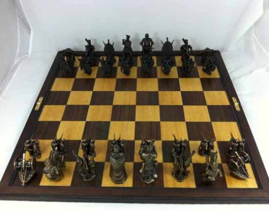 Littlehand UK's Anglo-Zulu war chess set depicting  various in the war