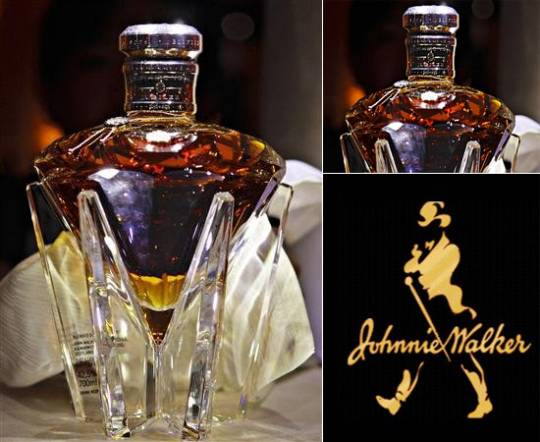 Johnnie Walker whiskey bottle for Queen Elisabeth's diamond jubilee at the throne