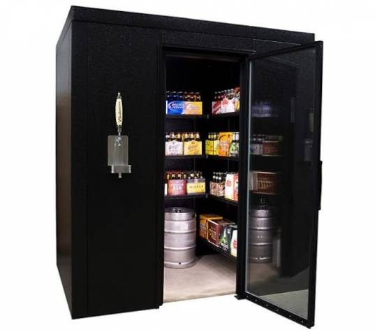 Brew Cave, a walk-in beer cooler and kegerator