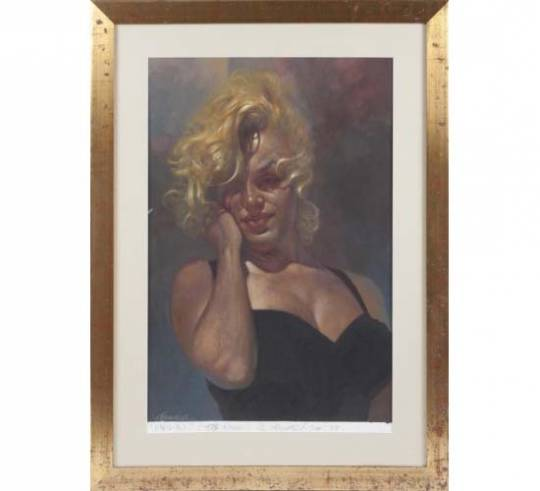 a portrait of Marilyn Monroe, acrylic on paper, gifted to Ronnie