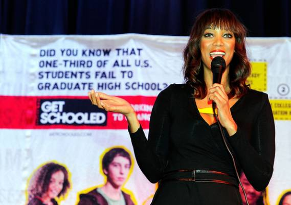 Tyra Banks and the Get Schooled Foundation visit 400 students in 2011