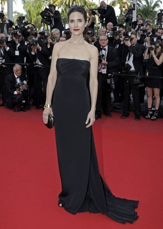 "The artist flaunted this gown at the screening of ""Once Upon a time in America"" during the 65th Cannes film festival."