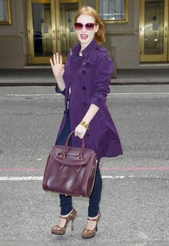 Jessica wears Burberry London Technical Cotton Blend Queensbury Trench Coat