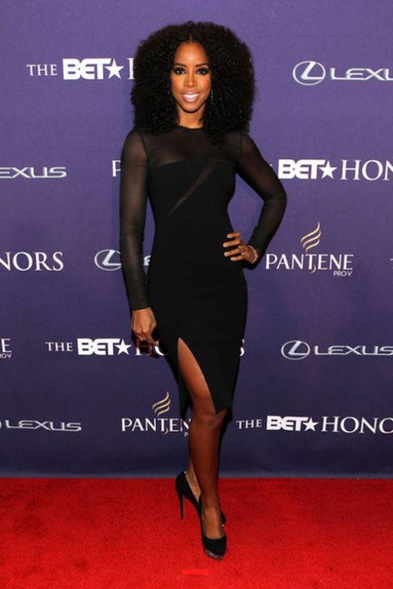 Kelly wears Emilio Pucci Long Sleeve Sheer Slit Dress