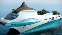 Luxurious Tropical Island Paradise superyacht enjoys a volcano-like superstructure