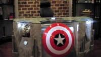 Custom made Avengers movie themed desk is perfect for prop display
