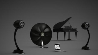 S W Speakers and Sinan Design's all carbon fiber 'extraterrestrial' speaker and subwoofer