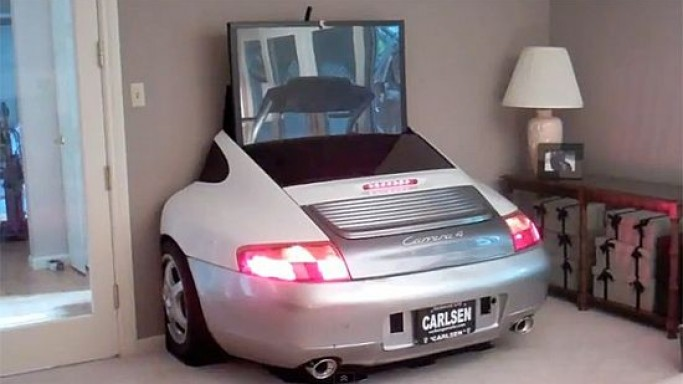 Auto lover designs TV stands out of the Porsche rear for upscale living rooms
