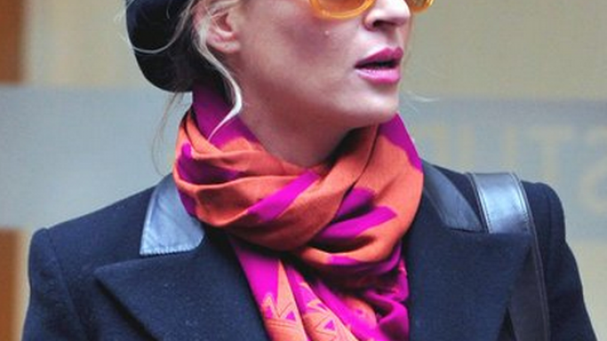 Uma Thurman likes to wear Burberry London Transparent Haymarket Check Round Oversize Sunglasses