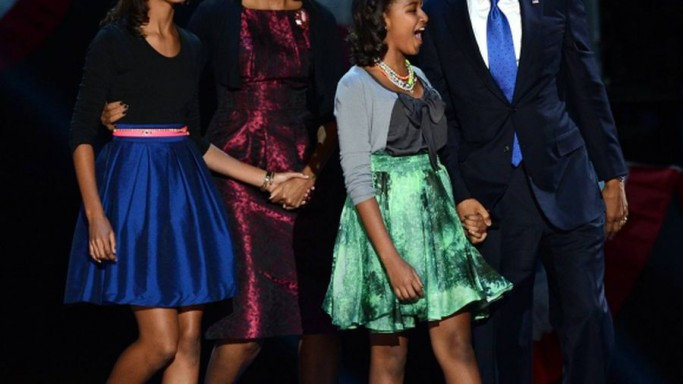 Michelle Obama wearing Michael Kors on Election Night in 2012 campaign.