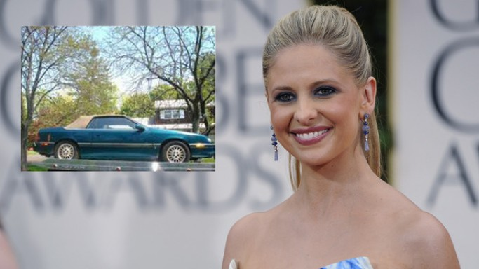 A bluish green colored 1995 model Chrysler LeBaron convertible with a tan colored top, reportedly once owned by actress Sarah Micelle Gellar