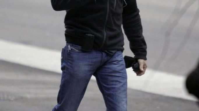 Hardy was photographed wearing the Diesel boot-cut jeans.