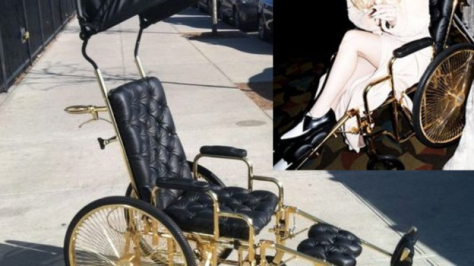 Lady Gaga recuperating from her hip surgery in a 24-carat gold wheelchair