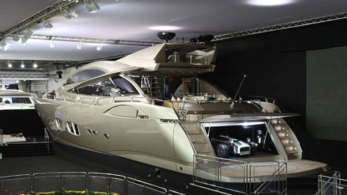 Luxury yacht brings a luxury garage for your sports car