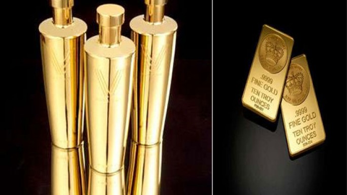 24 karat gold vodka bottles by Vallure