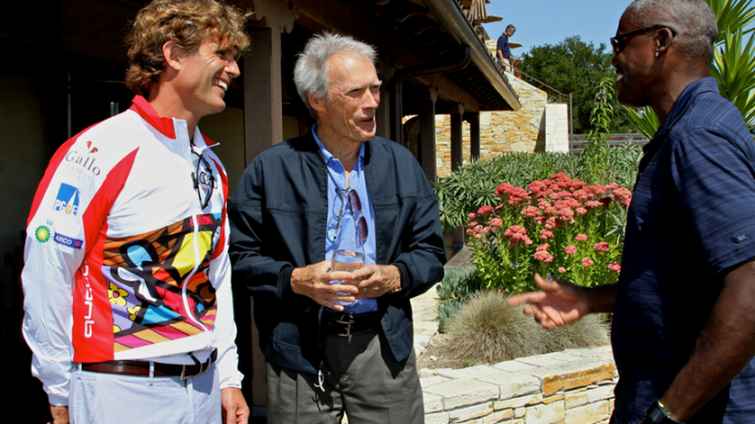 Anthony K. Shriver, Clint Eastwood, and Carl Lewis at the Tehāma Golf Club to supports the Best Buddies International program