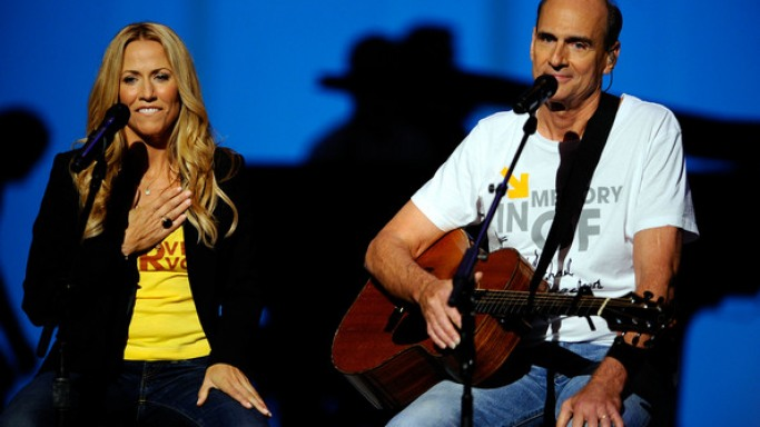 Sheryl Crow and James Taylor perform during Stand Up To Cancer at the Kodak Theatre