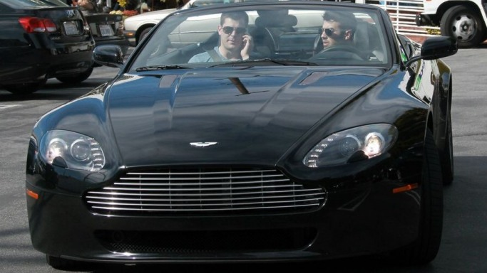 Joe JOnas drives Aston Martin