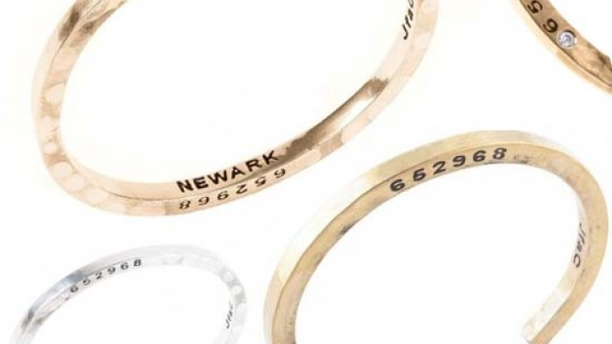 Bangles made up of recycled metal from guns and bullets from Newark's gun buyback program
