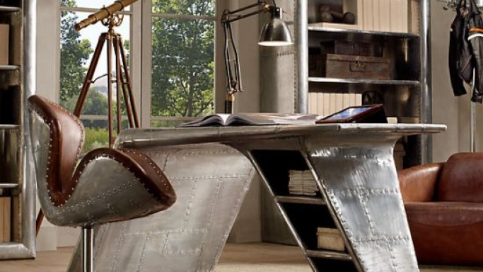 Restoration Hardware's Aviator Wing Desk is inspired by streamlined WW II fighter planes