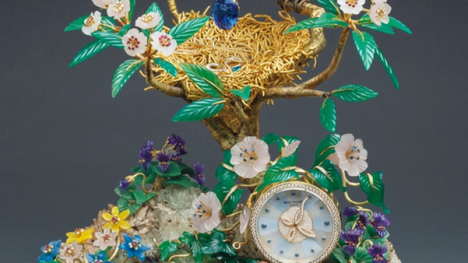 Patek Philippe Clock set with diamonds and rubies sold at $2.31 million