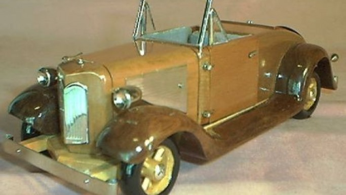 1935 Ford Wood and Sterling Silver Sculpture for nostalgic owners