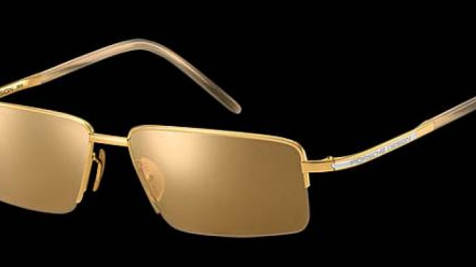 Porsche P'8499 24-carat gold sunglasses will lighten the beach even on rainy days