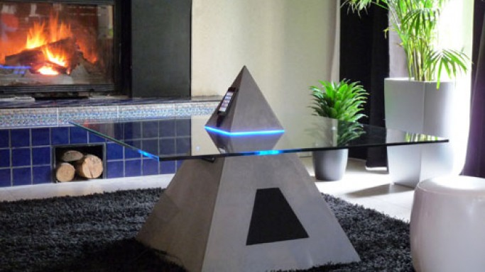 Pyramid-shaped coffee table houses iPod on the temple, just where it belongs