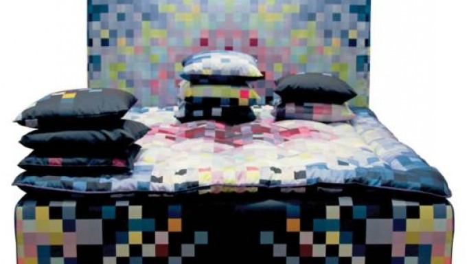 Hästens limited edition pixelated bed by Cristian Zuzunaga