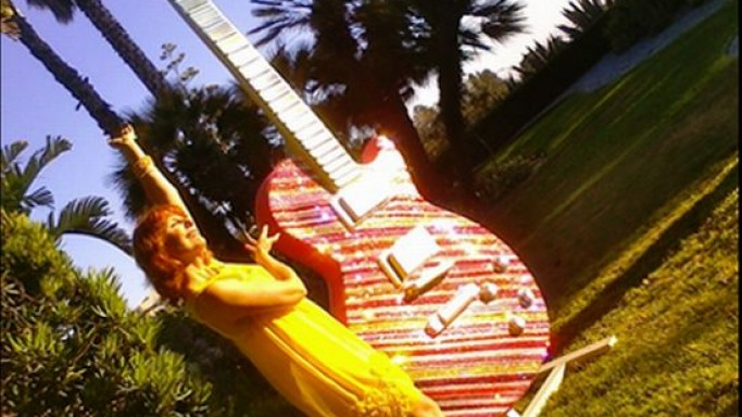 Erin Lareau's Swarovski-studded 10-foot Les Paul-inspired guitar